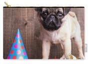 Happy Birthday Cute Pug Puppy Carry-all Pouch by Edward Fielding