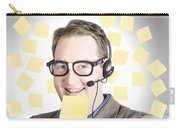 Happy Business Man Wearing Helpdesk Headset Carry-all Pouch