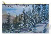 Happy Holidays Forest And Mountains Carry-all Pouch