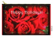 Happy Holidays - Red Roses Green Sparkles - Holiday And Christmas Card Carry-all Pouch