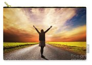 Happy Woman Standing On Long Road At Sunset Carry-all Pouch