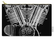 1923 Harley Davidson Black And White Engine Patent Carry-all Pouch