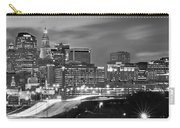 Hartford Skyline At Night Bw Black And White Panoramic  Carry-all Pouch