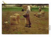Harvesting Potatoes Oil On Canvas Carry-all Pouch