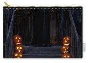 Haunted House With Lit Pumpkins And Demon Carry-all Pouch