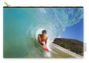 Hawaii, Maui, Makena - Big Beach, Boogie Boarder Riding Barrel Of Beautiful Wave Along Shore. Carry-all Pouch