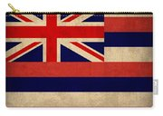 Hawaii State Flag Art On Worn Canvas Carry-all Pouch