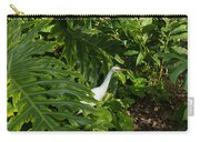 Hawaiian Garden Visitor - A Bright White Egret In The Lush Greenery Carry-all Pouch