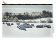 Hay Bales Covered With Snow And Ice In Maine Carry-all Pouch