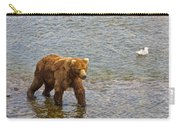 Head Grizzly Bear And Sea Gull In Moraine River In Katmai Np-ak  Carry-all Pouch