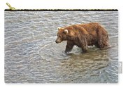 Head Grizzly Bear With Intense Fishing  Focus For Salmon In Moraine River In Katmai Np-ak Carry-all Pouch
