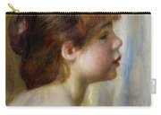 Head Of A Young Woman Carry-all Pouch by Pierre Auguste Renoir