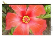 Head On Shot Of A Red Tropical Hibiscus Flower Carry-all Pouch