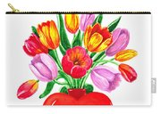 Heart Full Of Tulips Valentine Bouquet  Carry-all Pouch