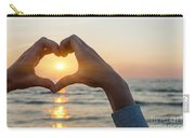 Heart Shaped Hands Framing Ocean Sunset Carry-all Pouch