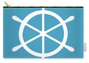 Helm In White And Turquoise Blue Carry-all Pouch