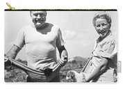Hemingway, Wife And Pets Carry-all Pouch by Underwood Archives