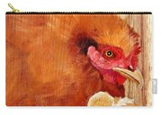 Hen With Chick On Wood Carry-all Pouch
