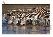 Herd Of Zebras Drinking Water Carry-all Pouch
