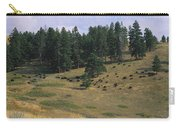 High Angle View Of Bisons Grazing Carry-all Pouch