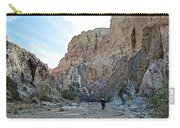 Hiker In Big Painted Canyons Trail In Mecca Hills-ca Carry-all Pouch