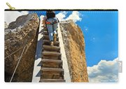 Hiker On Wooden Staircase Carry-all Pouch