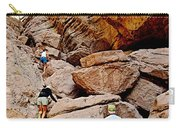 Hikers Enter Ladder Canyon From Big Painted Canyons Trail In Mecca Hills-ca  Carry-all Pouch