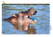 Hippo With Open Mouth In River. Serengeti. Tanzania Carry-all Pouch