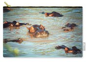 Hippopotamus Group In River. Serengeti. Tanzania Carry-all Pouch