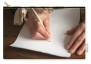 Historical Senior Man Writing With A Quill Pen Carry-all Pouch