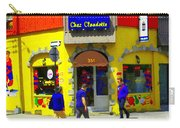 Hockey Art At Restaurant Chez  Claudette Plateau Montreal Sunny Street Scene Carole Spandau  Carry-all Pouch