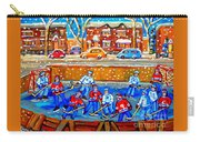Hockey Art Collectible Cards And Prints Snowy Day  Neighborhood Rinks Verdun Montreal Art C Spandau Carry-all Pouch