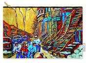 Hockey Art Montreal Winter Scene Winding Staircases Kids Playing Street Hockey Painting  Carry-all Pouch by Carole Spandau