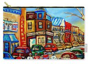 Hockey Art Montreal Winter Street Scene Painting Chez Vito Boucherie And Fairmount Bagel Carry-all Pouch