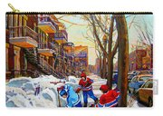 Hockey Art - Paintings Of Verdun- Montreal Street Scenes In Winter Carry-all Pouch