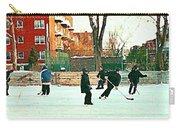 Hockey Art Shimmy Game Local Rink Montreal Paintings Winter Street Scene Verdun Art Carole Spandau Carry-all Pouch