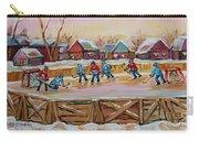 Hockey Game-outdoor Hockey -beautiful Canadian Winter Landscape-hockey Heroes-carole Spandau Carry-all Pouch
