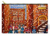 Hockey In The Laneway On Snowy Day Paintings Of Montreal Streets In Winter Carole Spandau Carry-all Pouch