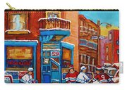 Hockey Stars At Wilensky's Diner Street Hockey Game Paintings Of Montreal Winter  Carole Spandau Carry-all Pouch