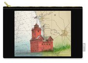 Holland Harbor Lighthouse Mi Nautical Chart Map Art Carry-all Pouch