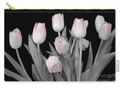 Holland Tulips In Black And White With Pink Carry-all Pouch
