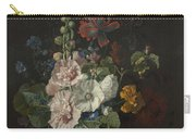 Hollyhocks And Other Flowers In A Vase Carry-all Pouch