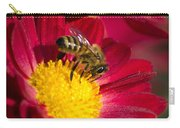 Honey Bee And Chrysanthemum Carry-all Pouch by Christina Rollo