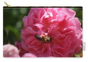 Honey Bee Collecting Pollen On A Pink Rose Carry-all Pouch