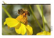Honeybee Feasting On Nectar Of Yellow Flower Carry-all Pouch