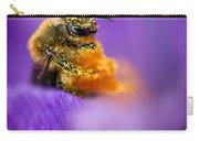 Honeybee Pollinating Crocus Flower Carry-all Pouch