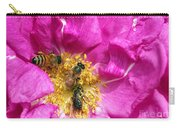 Honeybees On Pink Rose Carry-all Pouch