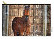 Horse And Snow Storm Carry-all Pouch by Dan Friend