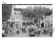 Horse And Trolley Turning Main Street Disneyland Bw Carry-all Pouch