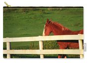 Horse And White Fence Carry-all Pouch